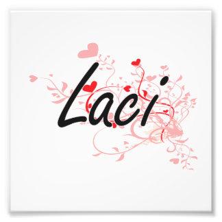 Laci Artistic Name Design with Hearts Photo