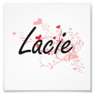 Lacie Artistic Name Design with Hearts Photograph
