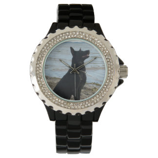 Lacquer Black German Shepherd at the Beach Watch