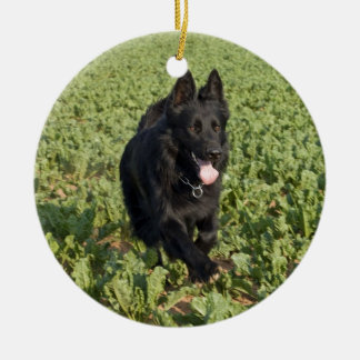 Lacquer Black German Shepherd Double-Sided Ceramic Round Christmas Ornament
