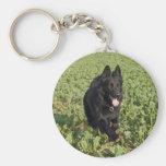 Lacquer Black German Shepherd Basic Round Button Key Ring