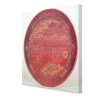 Lacquer dish, carved canvas print