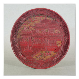 Lacquer dish, carved poster
