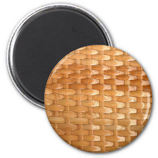 Lacquer Wicker Basketweave Texture Look 6 Cm Round Magnet