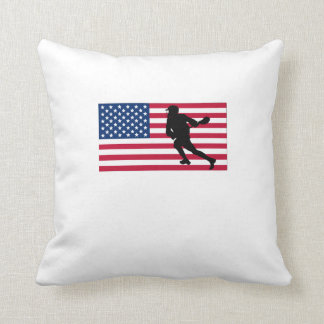 Lacrosse American Flag Throw Pillow