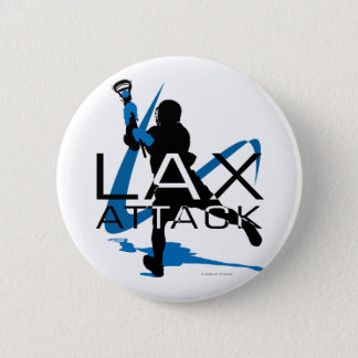 Lacrosse Boys LAX Attack Blue 6 Cm Round Badge