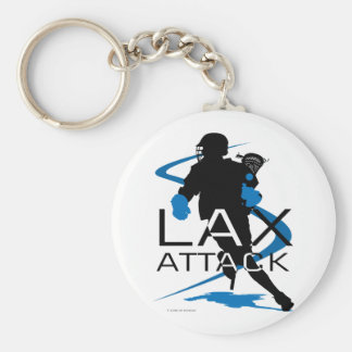 Lacrosse Boys LAX Attack Blue Basic Round Button Key Ring