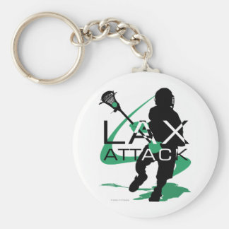 Lacrosse Boys LAX Attack Green Basic Round Button Key Ring