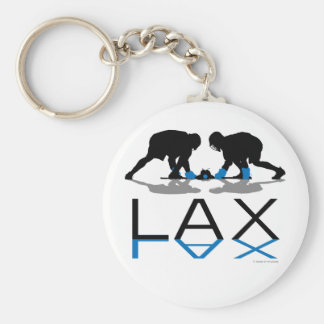 Lacrosse Boys LAX Blue Basic Round Button Key Ring