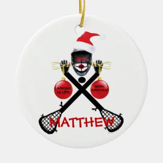 Lacrosse Christmas Cartoon Round Ceramic Decoration