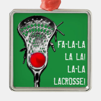 LACROSSE CHRISTMAS CHEER Silver-Colored SQUARE DECORATION