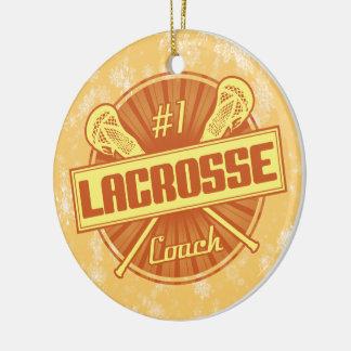Lacrosse Christmas Decoration, #1 Lax Coach Round Ceramic Decoration