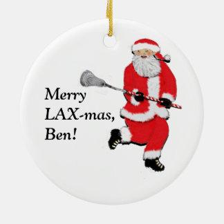 LACROSSE CHRISTMAS GIFT ROUND CERAMIC DECORATION