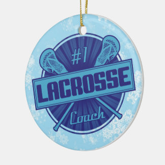 Lacrosse Christmas Tree Decoration, #1 LAX Coach Round Ceramic Decoration