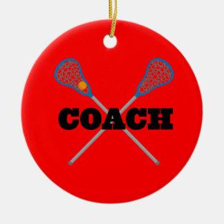 Lacrosse Coach Gift Idea Round Ceramic Decoration
