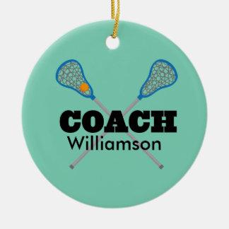 Lacrosse Coach Personalized Gift Idea Round Ceramic Decoration