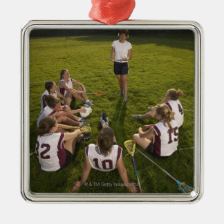 Lacrosse coach speaking to teenage (16-17) team Silver-Colored square decoration