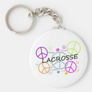 Lacrosse Colored Peace Signs Basic Round Button Key Ring