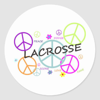 Lacrosse Colored Peace Signs Classic Round Sticker