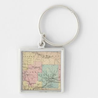 Lacrosse County, Wisconsin Silver-Colored Square Key Ring