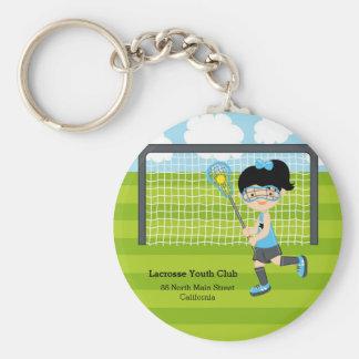 Lacrosse girl basic round button key ring