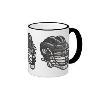 Lacrosse Helmet Black Ringer Mug