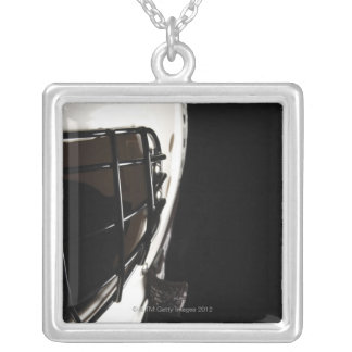 Lacrosse helmet silver plated necklace