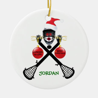 Lacrosse is Life Christmas Round Ceramic Decoration
