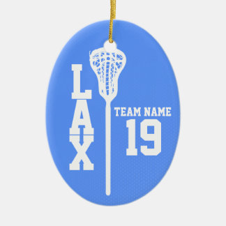 Lacrosse Jersey with Photo Blue Christmas Ornament