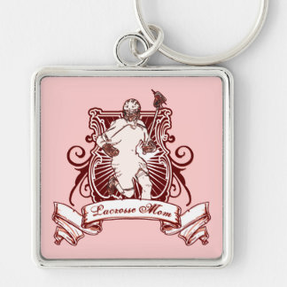 Lacrosse Mom Keyring Silver-Colored Square Key Ring