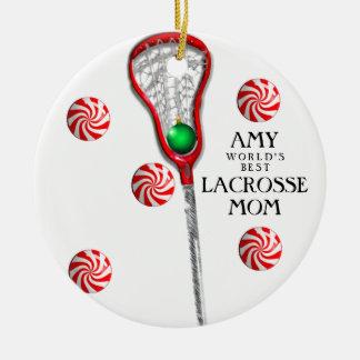 Lacrosse Mom Round Ceramic Decoration