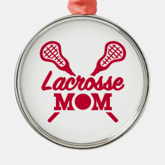 Lacrosse mom Silver-Colored round decoration