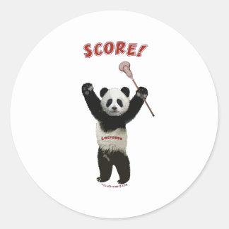 Lacrosse Panda Score Round Sticker