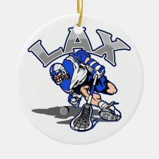 Lacrosse Player Blue Uniform Christmas Ornament