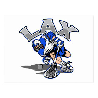 Lacrosse Player Blue Uniform Post Card