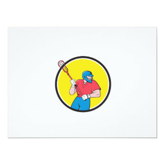 Lacrosse Player Crosse Stick Running Circle Cartoo 17 Cm X 22 Cm Invitation Card