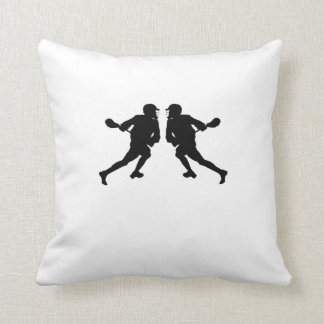 Lacrosse Player Mirror Image Cushion