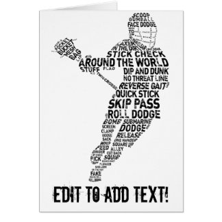 Lacrosse Player Typography Card