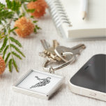 Lacrosse Player Typography Silver-Colored Square Key Ring