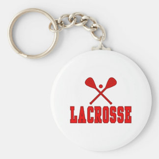 Lacrosse Red Basic Round Button Key Ring