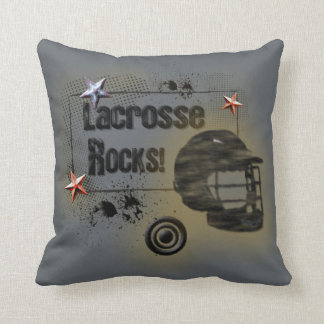 Lacrosse Rocks! Grungy Design Throw Cushions
