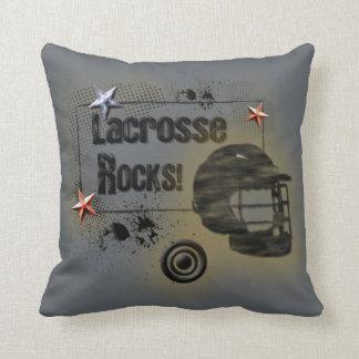 Lacrosse Rocks! Grungy Design Throw Cushions