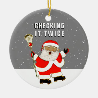 Lacrosse Santa Collectible Christmas Ornament