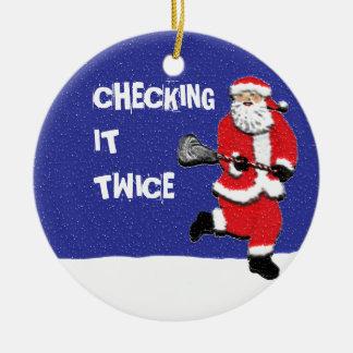 Lacrosse Santa Collectible Christmas Ornament