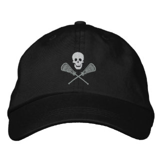 Lacrosse Skull and Cross Sticks Embroidered Cap Embroidered Hat