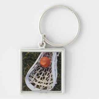 Lacrosse Stick and Ball Silver-Colored Square Key Ring