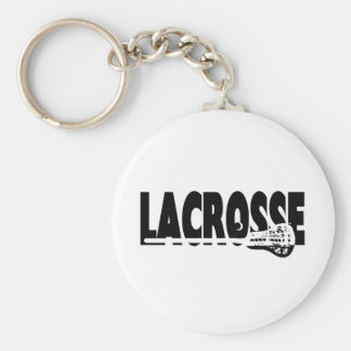 Lacrosse Stick Black and White Basic Round Button Key Ring