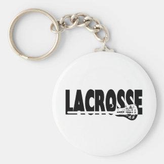 Lacrosse Stick Black and White Key Ring