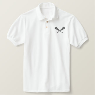 Lacrosse Sticks Crossed Embroidered Shirt