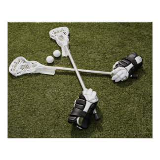 Lacrosse sticks gloves and balls on artificial print